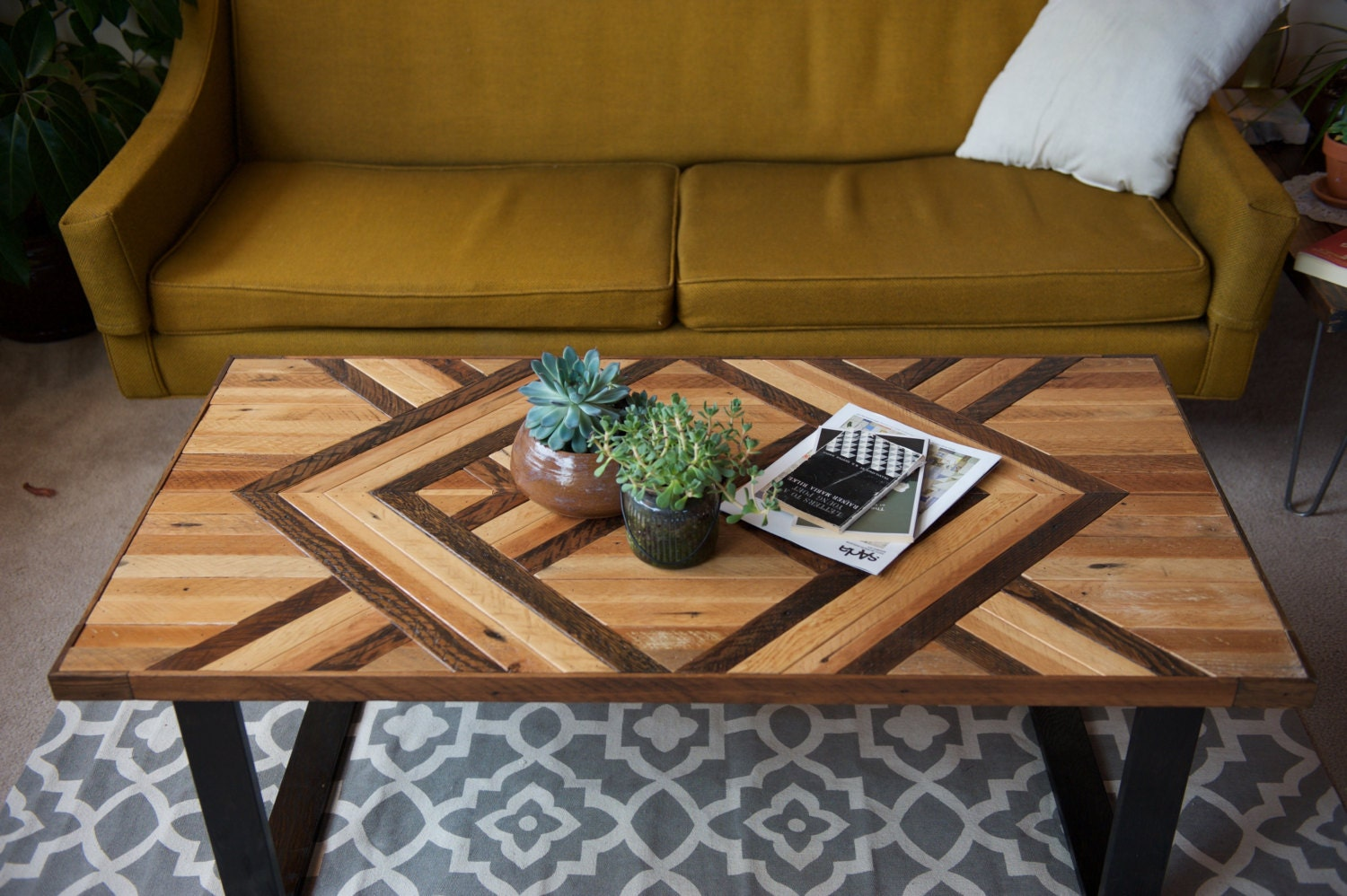 Samuel geometric wood coffee table made to order for Geometric coffee table