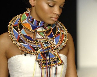 Fashionable African Ceremonial Wedding Necklace, Choker& Hair Accessory from Kenya