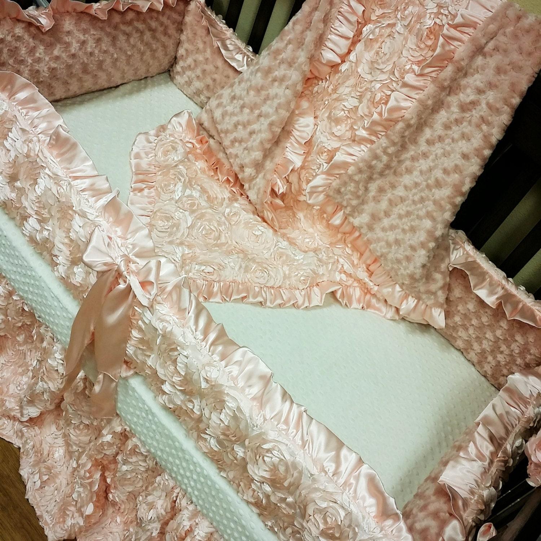 Blush Satin Rosette Crib Set