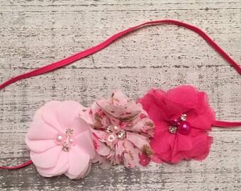 Pink floral headband.  Pink three flower headband.  Pink baby headband.