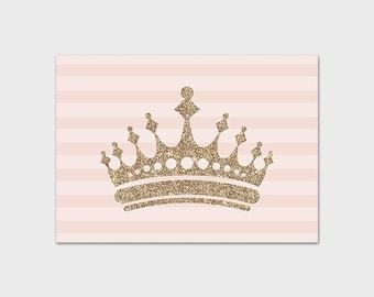 Princess Crown Print 5x7 Instant Download Nursery Print Kid's Room Decor Princess Decor Gold Glitter Pink Nursery Art Fairytale Wall Art