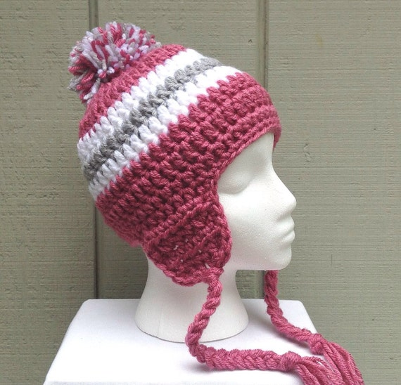 Crochet Womens Hat With Ear Flaps Pattern : Crochet ear flap hat Womens beanie with braids by ...
