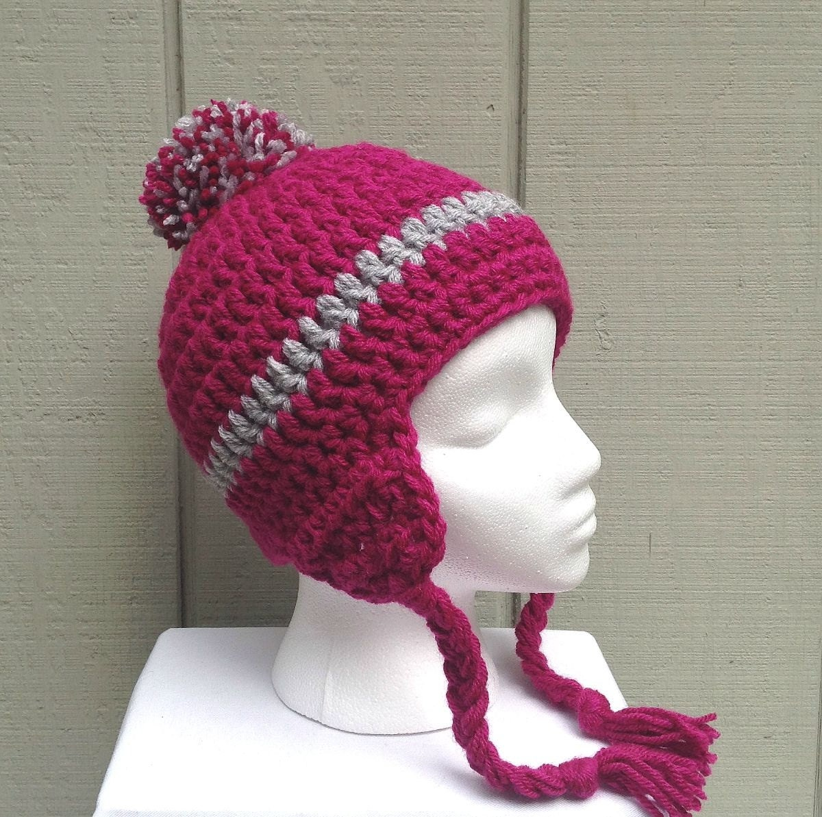 Crochet Womens Hat With Ear Flaps Pattern : Ear flap beanie Pink crochet ear flap hat Pom pom beanie
