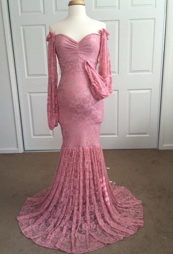 Dusty pink Lace Maternity Gown with extra fluffy lace long