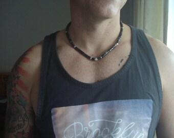 Heishi Necklace - Mens/Womens Black Heishi Beaded Necklace - 6 mm Black Heishi & Silver Pewter Beaded Necklace-