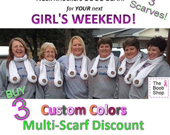 3 BOOB SCARVES - 10% off Multi Boob Scarf order. Team accessories, Breast Cancer awareness, Dirty Santa Gifts, Girls weekend, Bachelor