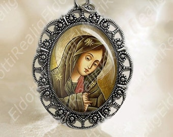 Our Sorrowful Mother the Seven Sorrows Virgin Mary Medal Silver Tone Christian Catholic