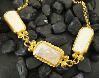 22K Gold Over 925K Sterling Silver Handmade Designer Free Form Pearl Bracelet