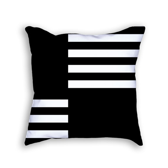 Modern black and white throw pillow. 18x18 by ClearframeGallery