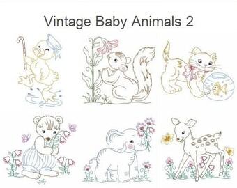 Vintage Baby Animals 2 Machine Embroidery Designs Instant Download 4x4 5x5 6x6 hoop 10 designs APE2154