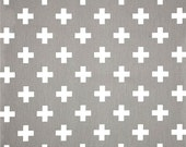 Grey & White Cross Cotton Fabric by the Yard, Designer Contemporary Home Decor Fabric Drapery or Upholstery Fabric, Neutral Grey Fabric G144