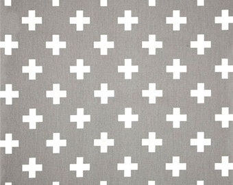 Nordic Scandi Grey & White Cross Cotton Fabric by the Yard Designer Home Decor Fabric Drapery or Upholstery Fabric Neutral Grey Fabric G144