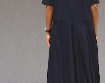 Black cotton dress for plus size women, asymmetric cut, loose draped dress, oversized short sleeves tunic, long length summer clothing