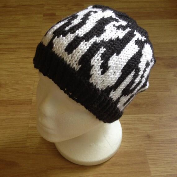 Zebra Hat Knitting Pattern : Pattern tiger stripe knit hat adult size knitting