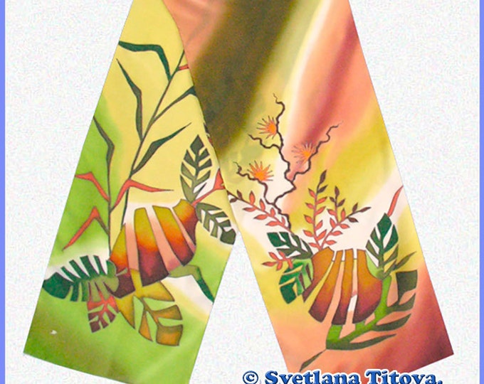 Hand painted silk scarf. Artist Svetlana Titova.Perfect gift for any occasion (Valentines, Christmas, Birthday, Anniversary, Wedding...)