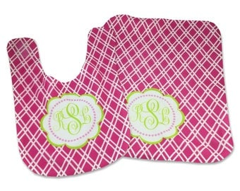 Monogrammed Baby Bib Burp Cloth Set Personalized Baby Girl Bib Monogrammed Baby Girl Gifts Bibs Burp Cloths