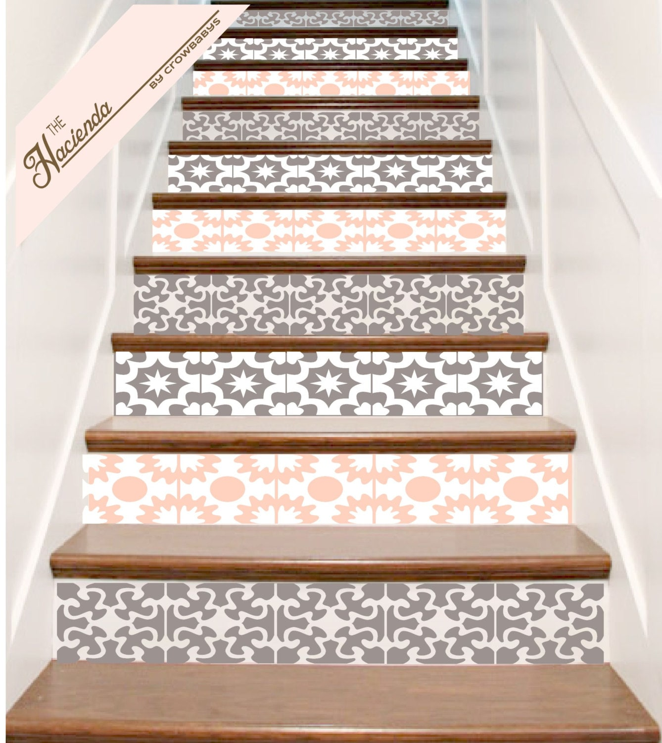 vinyl stair tile decals set of 13 hacienda spanish by crowbabys. Black Bedroom Furniture Sets. Home Design Ideas