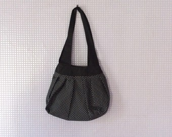 Polka dot black & white shoulder bag