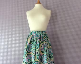 Vintage printed A-line high waisted skirt