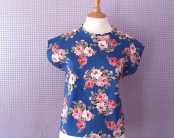 Vintage rose print blue & pink cap sleeve round neck t-shirt