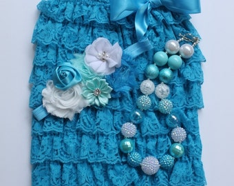 Turquoise Lace Petti Romper, Floral Headband & Chunky Necklace, Lace Romper, Little Girls, Baby, Photo Prop, Cake Smash, READY TO SHIP!