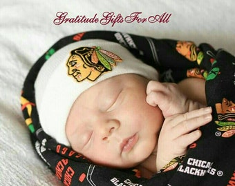 SaLe Newborn Hospital Hat Chicago Blackhawks. White hat with Chicago Blackhawks applique! Perfect for Boy or Girl! Gender Neutral.