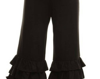 Girls triple ruffle capris