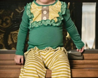 Little girls persnickety remake green and mustard ruffle pants and bib top set on Clearance