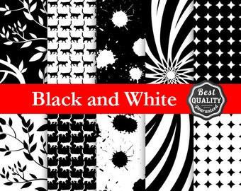 80% OFF Black & White Digital Paper Pack., Instant Download, 10 printable scrapbooking digital collage clip art ClipArt * Printableק