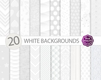 "WHITE digital paper ""White"" , elegant craft paper pack Commercial use  Scrapbook paper * Printable, Instant Download"
