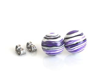 Purple studs, striped earrings, purple resin stud earrings, stud post earrings, funky earrings, large studs, fun purple chunky earrings,12mm