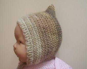 Knit pixie hat Baby pixie hat Beige pixie hat Knit baby hat Newborn pixie hat Newborn pixie bonnet Newborn knit hat Knitted baby beanie