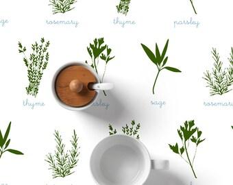 Fresh Herbs Table Cloth, Modern Kitchen Decor, Rustic Table cloth, Canvas Tablecloth, Fresh Herbs Illustration, Parsley sage rosemary thyme