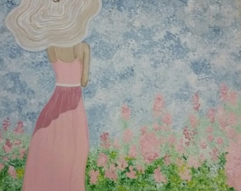 Summer's Girl / Original Painting on Canvas / Pink Girl in Field of Summer Flowers
