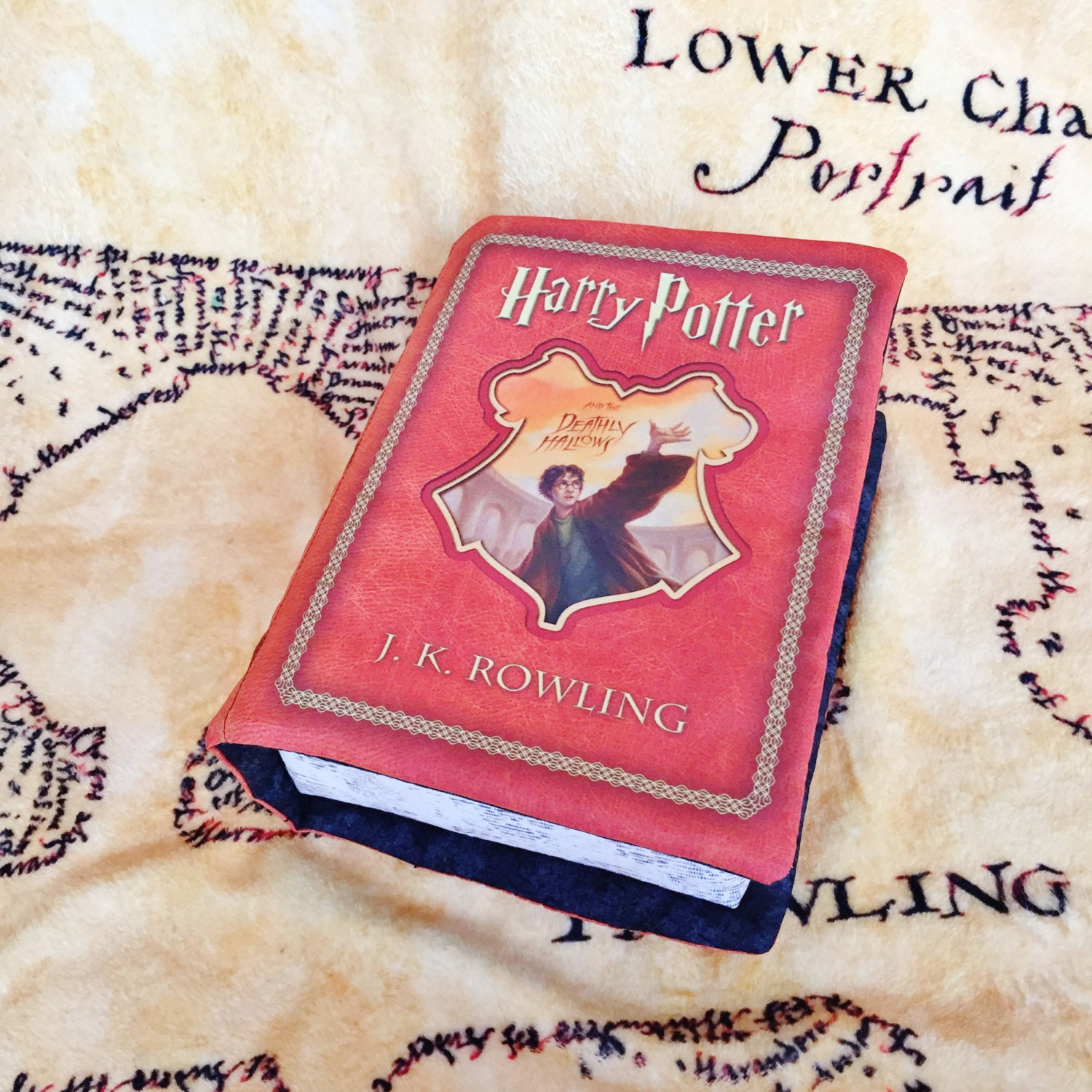 Harry Potter Book Cover Fabric ~ Harry potter book pillow deathly hallows