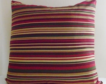 Burgundy Striped Pillow Etsy
