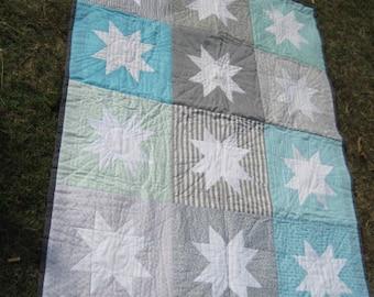 Aqua Stars Hand Sewn Quilt - Now less than half price