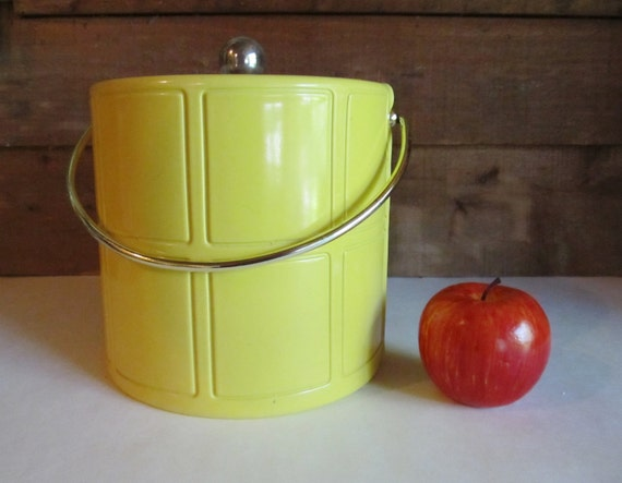 Vintage Yellow Vinyl Ice Bucket With Glass Lid Kraftware