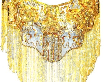 Sequin Beaded Scarf Shawl Wrap GOLD