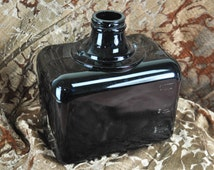 Unique Vintage Opaque Black Glass Rectangular Bottle (Please Convo Us for Shipping Rates)