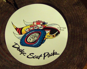 Org Dodge Super Bee Scat Pack Sticker, Nice & Bright White, Not a Repo Or Dried Up,Great Shape,Gearhead,Kustom Kulture,