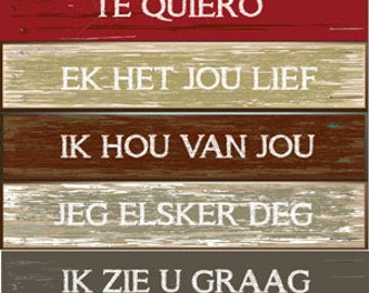 Love Languages Metal Sign, I Love You in Other Languages, Country Decor, HB7001