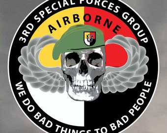 Special Forces Sticker - skull wearing beret with 3rd SFG flash 0046
