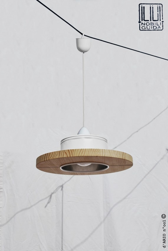 Hanging / ceiling lamp / pendant light, mat white and light pine wood, ECO-friendly: recyled from big coffe can !