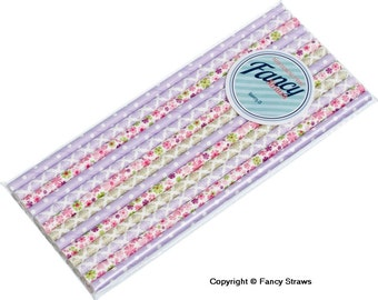 Paper Drinking Straws Cottage Garden Collection - 25 Pack - Free UK Delivery