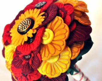Autumn colours bridal bouquet / Felt button bouquet / Embroidered everlasting bouquet / Autumn wedding / alternative wedding flowers
