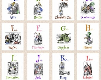 Alice in Wonderland Alphabet Art A to Z from Alice to Extraordinary 24 Prints Choose Your Size A095