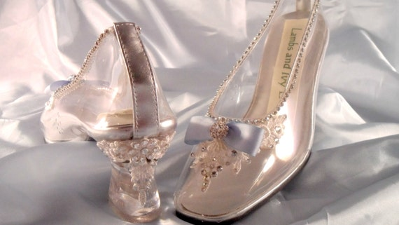 Cinderella Glass And Lace Slipper Wedding Shoes By AJuneBride