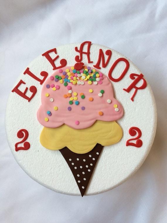 Ice Cream Cake Edible Image : Ice Cream birthday cake topper party edible fondant