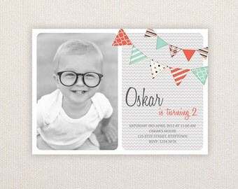 Photo Birthday Party Invitations. Orange buntings. I Customize, You Print.